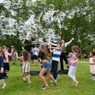 Bubble Man from London Bubbles entertains the children at Highbury Fields. Picture: Siorna Ashby