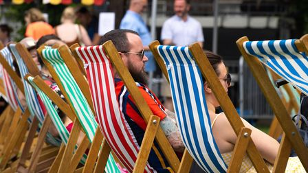 Relaxing in the deck chairs at the Big Jewish Summer Fete. Picture: Siorna Ashby