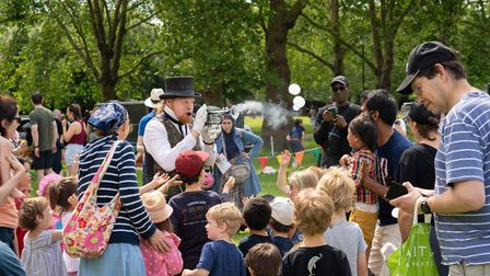 Bubble Man and a captivated audience at the Big Jewish Summer Fete. Picture: Siorna Ashby