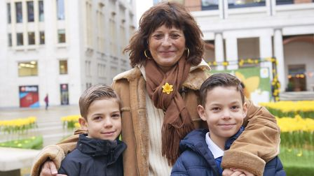 Paola Domizio and her two sons Aaron (left) and Sasha (right) attended the Marie Curie Garden of Li