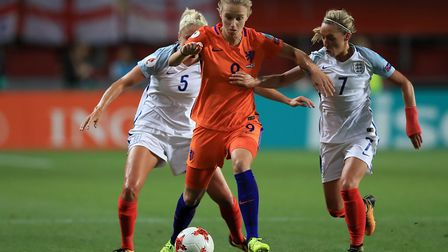 Arsenal's Vivianne Miedema (centre) in action for the Netherlands (pic Mike Egerton/PA)