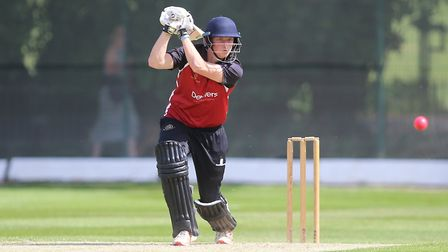 Luke Hollman hits out for North Middlesex in the Middlesex County Premier Division (pic: George Phil