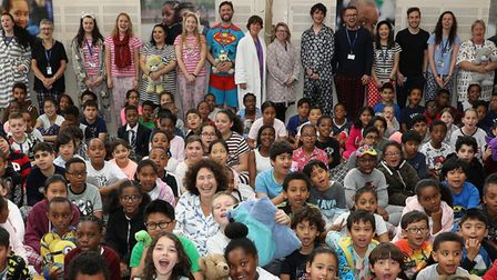 Francesca Simon and BookTrust host a Pyjamarama themed assembly with pupils from St Mary's Catholic