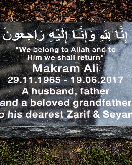 The memorial stone to Makram Ali in Clifton Court in the Six Acres Estate, Finsbury Park. Picture: E