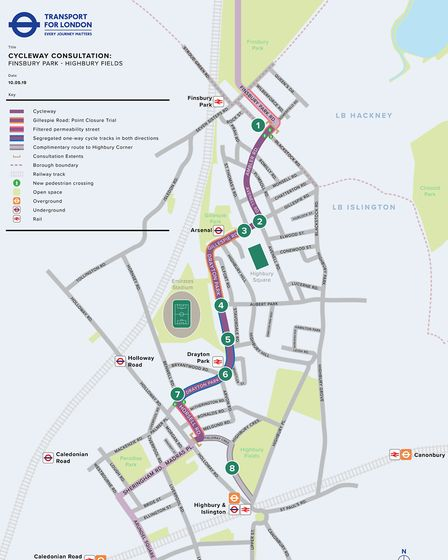 Overview plan of the proposed Finsbury Park to Highbury Fields Cycleway.