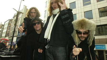The Darkness: Dan Hawkins, Ed Graham, Justin Hawkins and Frankie Poullain. Photo by Tim Whitby/WireI