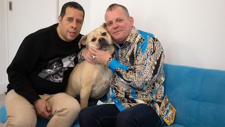 Gustavo (left) and Andrew William-Coleman with Bessie the dog. Picture: Jonathan Goldberg