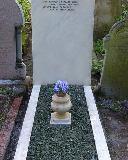 The grave of Nelly Power in Abney Park Cemetery which was restored by the Music Hall Guild of Great