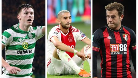 Kieran Tierney (left), Hakim Ziyech (middle) and Ryan Fraser (right). Picture: PA