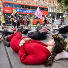 The death sleep of the Extinction Rebellion protesters outside Shell petrol station. Picture: Siorna