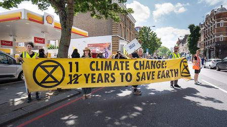 Extinction Rebellion protesters outside Shell petrol station on Upper Street. Picture: Siorna Ashby