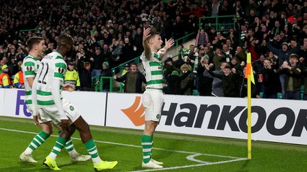 Celtic's Kieran Tierney celebrates scoring his side's first goal of the game during the UEFA Europa