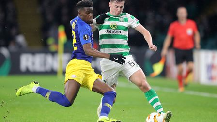 Celtic's Kieran Tierney (right) and Leipzig's Nordi Mukiele battle for the ball during the UEFA Euro