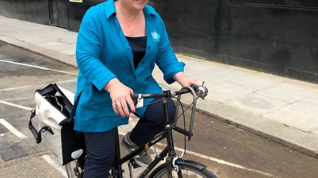Stock image of Emily Thornberry on bike. Picture: Linda Grove