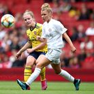 Arsenal's Kim Little (left) and Bayern Munich's Linda Dallmann (right) in action during the Emirates