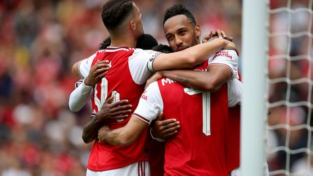 Arsenal's Pierre-Emerick Aubameyang celebrates scoring his side's first goal during the Emirates Cup
