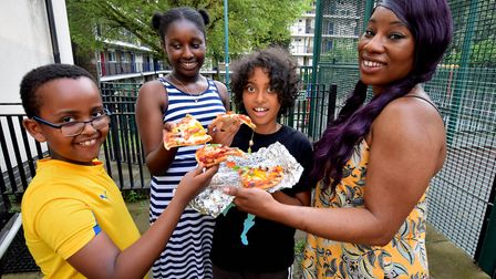 Generation Z, youth programme at Barnsbury Community Centre. Pizza making session: from left, partic