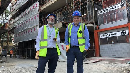 Islington's director of new build Jed Young and housing chief Cllr Diarmaid Ward. Picture: Kate Robs