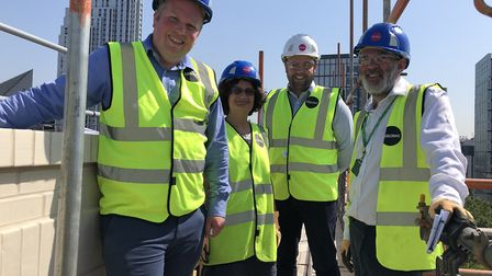 From left: housing chief Cllr Diarmaid Ward, project manager Teresa Santucci, project manager Matt C