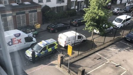 A man was found with gunshot injuries in Wedmore Street. Picture: @999london