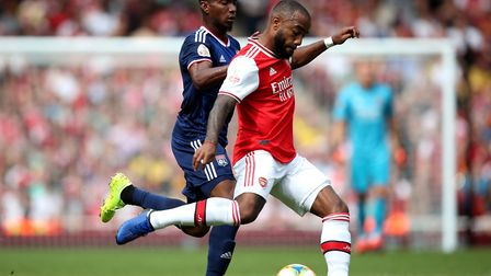 Arsenal's Alexandre Lacazette in action during the Emirates Cup match at the Emirates Stadium, Londo