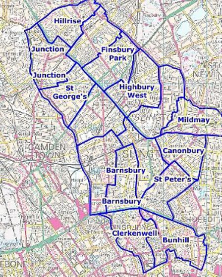 What the political map in Islington currently looks like. Picture: The Local Government Boundary Com