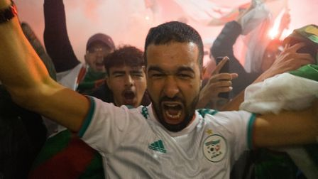 Algerian fans celebrating their 2019 Africa Cup of Nations victory. Picture: Joshua Thurston