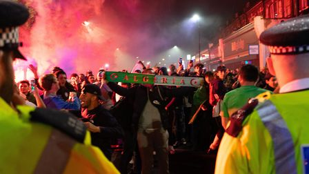 Police urged Algerian fans to behave themselves while celebrating. Picture: Joshua Thurston