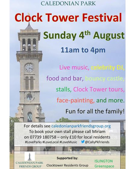 Flyer for Clock Tower Festival in Caledonian Park. Picture: Caledonian Park Friends Group