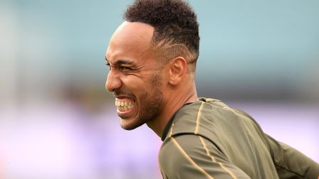 Arsenal's Pierre-Emerick Aubameyang during the training session at The Olympic Stadium, Baku. Pictur