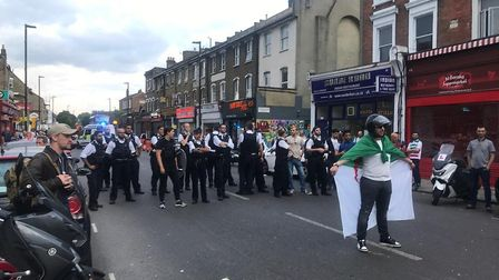 Fans celebrate Algeria's winning in the African Cup of Nations, pictured here in Blackstock Road. Pi