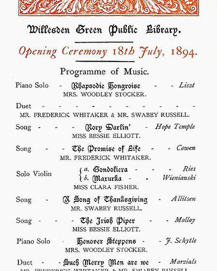 The 1894 Opening Ceremony music for Willesden Green Library. Picture: Brent Archives