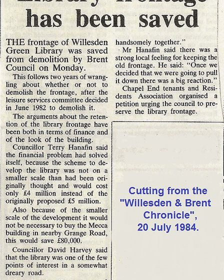 Willesden and Brent Chronicle's 1984 article that Willesden Green Library's front is saved. Picture: