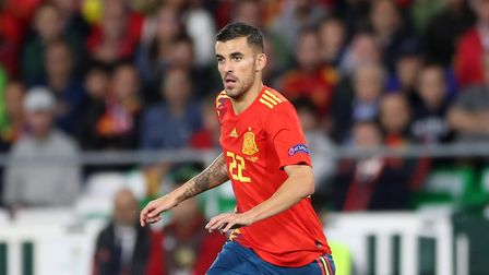 Spain's Dani Ceballos holds off England's Kieran Trippier during the Nations League match at Benito