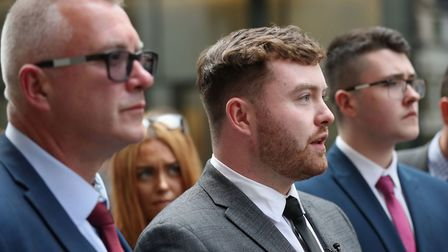Niall Galbally (centre), the son of Catherine Burke who was murdered by Kasim Lewis, speaking outsid