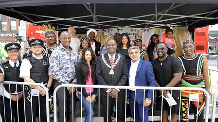 Dignitaries at the Heart of Wembley festival including the mayor of Brent Cllr Ernest Ezeajughi, cou