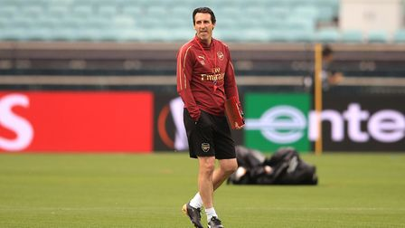 Arsenal manager Unai Emery during the training session at The Olympic Stadium, Baku. Picture: Adam D