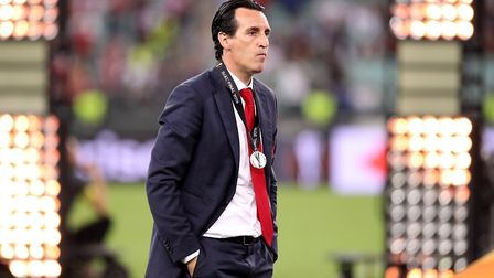 Arsenal manager Unai Emery looks dejected after the UEFA Europa League final at The Olympic Stadium,