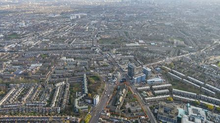 An aerial view of the site and Islington. Picture: Peabody