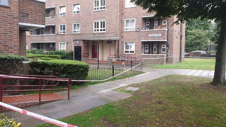 Ainsworth House, where a 20-year-old was killed outside and a 22-year-old was injured. Picture: Harr