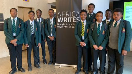 Newman Catholic College students at the British Library's Africa Writes festival. Picture: Newman Ca