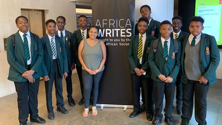 Rossana Amado at the Africa Writes festival with some of her students. Picture: Newman Catholic Coll