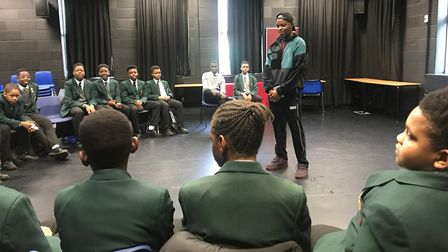 George the Poet launches the Black Boys Book Club at Newman Catholic College. Picture: Newman Cathol