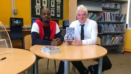 George the Poet and Newman Catholic College headteacher Daniel Patrick Coyle. Picture: Newman Cathol
