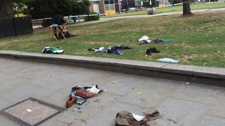The scene in Finsbury Square following the stabbings. Picture: Roy Chacko