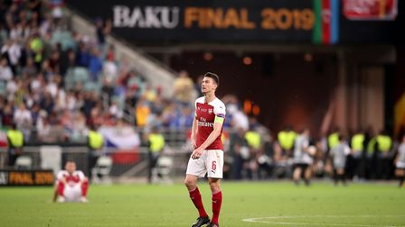 Arsenal's Laurent Koscielny looks dejected after the final whistle during the UEFA Europa League fin