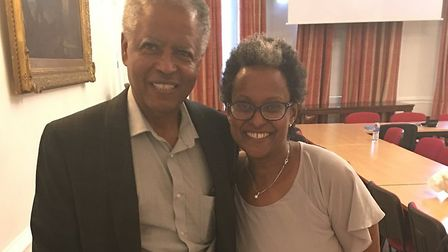 Former political prisoner Andy Tsege and wife Yemi at a book signing at the Ethiopian Embassy in Kni