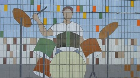 Rock drummer tile mural in Wembley Park (Picture: Wembley History Society and Brent Archives)