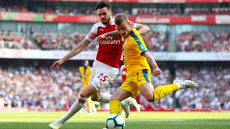 Arsenal's Carl Jenkinson (left) and Crystal Palace's Max Meyer battle for the ball during the Premie