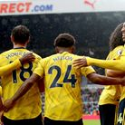 Arsenal's Pierre-Emerick Aubameyang (right) celebrates scoring his side's first goal of the game wit